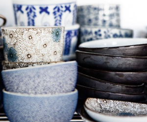 blue, dishes, and bowls image