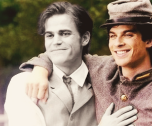 stefan salvatore, damon salvatore, and the vampire diaries image
