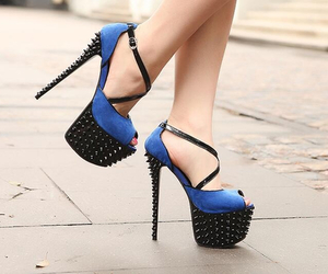 high heels, blue, and shoes image