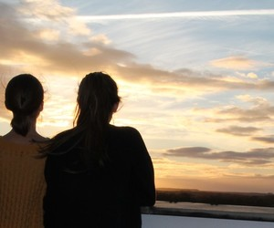 clouds, sunset, and girls image