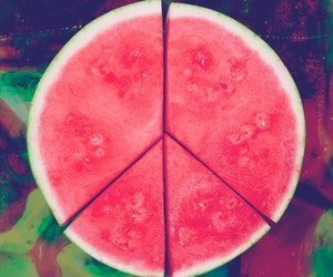 peace, watermelon, and fruit image