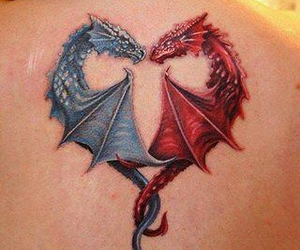 dragon, tattoo, and blue image