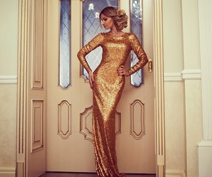 gold, dress, and luxury image