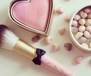 pink, makeup, and heart image