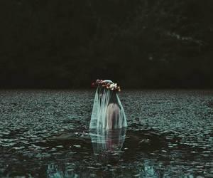 girl, water, and dark image