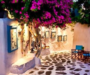Greece and flowers image