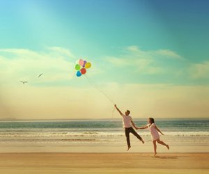 balloons, love, and beach image