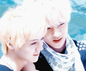 blonde hair, exo k, and exo m image