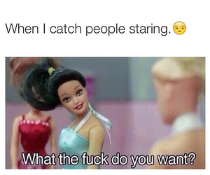 barbie, bitch, and staring image