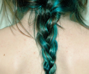 blonde, blue hair, and braid image