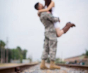 love, couple, and military image