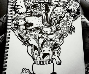 doodle, art, and black image