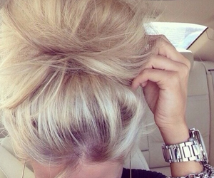 hair, blonde, and watch image