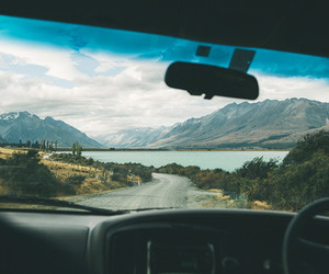 nature, mountains, and car image