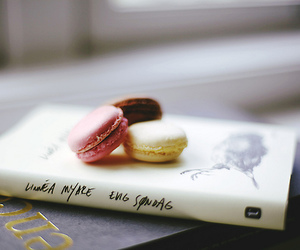 book, food, and macaroons image