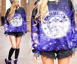 starbucks, galaxy, and outfit image