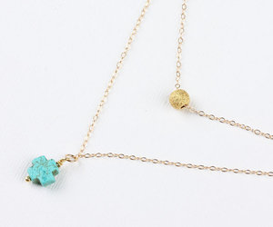 layered necklace, 14k gold, and turquoise pendant image
