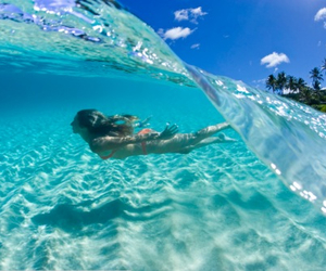 beach, swim, and wave image