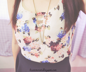 crystal, floral, and necklace image