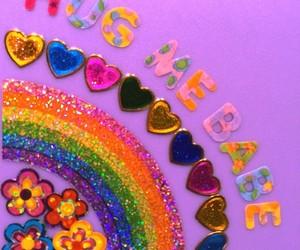 rainbow, flowers, and hug image