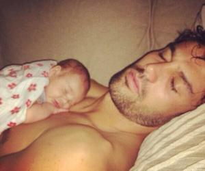 boy, father, and sleeping image