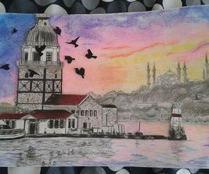 birds, drawing, and istanbul image