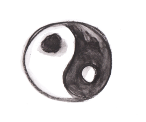 black, black and white, and ying yang image