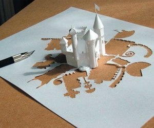 castle, Paper, and art image