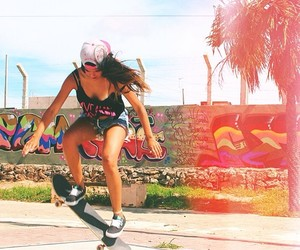 girl, ollie, and skate image