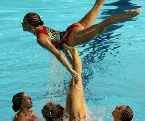 acrobatic, girl, and water image