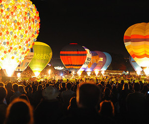 light, balloons, and night image