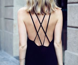 black, dress, and street style image