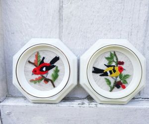 birds, embroidered, and vintage image