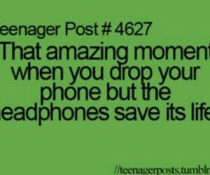 teenager post, phone, and headphones image