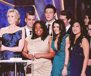 lea michele, amber riley, and cory monteith image