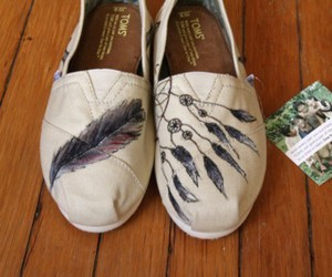 shoes, feather, and toms image