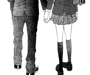 love, manga, and black and white image