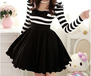 black and white, casual dress, and cute image