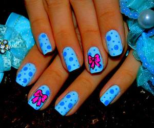 nails, blue, and bow image