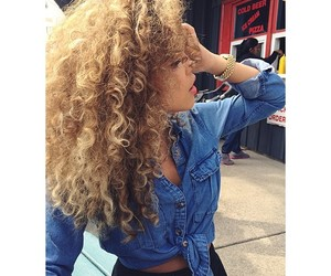 curly hair, blonde, and hair image