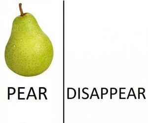 funny, pear, and disappear image