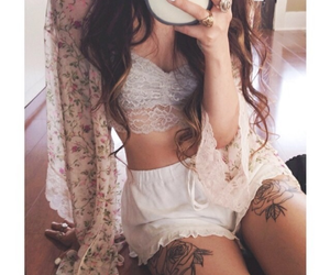 body, clothes, and floral image