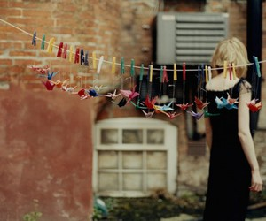 cranes, girl, and pegs image