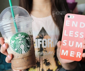 iphone, starbucks, and girl image