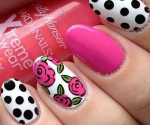 nails, beautiful, and rosas image