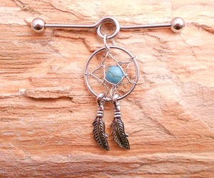 dream catcher, jewelry, and piercing image