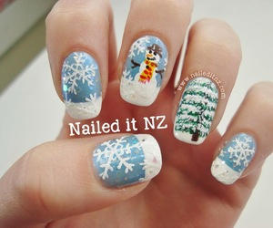 christmas, cold, and nail art image
