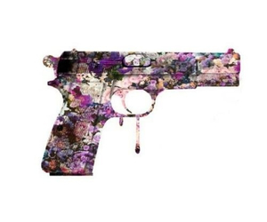 gun, flowers, and transparent image