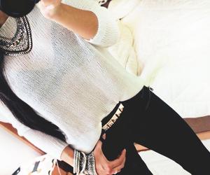 black and white, clothing, and fashion image