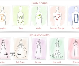 dress, wedding, and body shape image